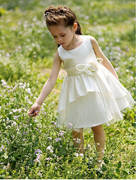 Wholesale A line Bateau Knee length Satin Tutu Dress Flower Girl Dress With Flower