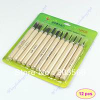 Cheap 12pcs set New Wood Handle Carving Mini Chisels Tool Kit Carpenters DIY Handy Tools Set Free Shipping