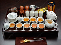 Wholesale 26pcs Chinese kung fu tea set White ceramic pottery teapot for the teaset cups tea pot porcelain tray with saucers solid wood
