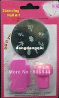 Cheap Wholesale-24PCS DIY Nail Art Stamping Set Stamping Nail Art Kit Nail Stamps + Plastic Scrapers+Image Plate