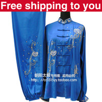 Wholesale Chinese Tai chi clothing taiji sword performance Morning exercise suit Flowers embroidery women children little girl boy men