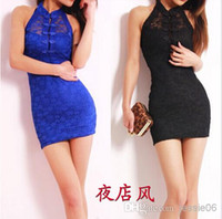 Wholesale Sexy Cheongsam Skirts - New Sexy women lace cheongsam dresses halter neckline backless buttocks tight slim dress Mini skirt night Club party clothing gifts