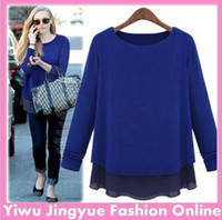 Cheap 2014 fashion women t shirt loose tops Long Sleeve chiffon patchwork black,blue full size Free shipping