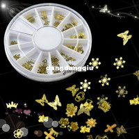 Cheap Wholesale-Free Shipping New Gold Nail Art Sticker Decoration Acrylic Tips Metal Slice Wheel Tiny Mixed Design b15 2572