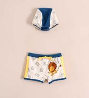 Cheap New Arrival Summer 2014 Children Baby Boys Swimwear & Beachwear Cute Swim Suits Boy Lovely Cartoon Swimming Trunks + Cap 2 Piece Sets C2323