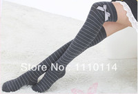 Wholesale New Black Grey striped with bow Over Knee Thigh High Socks Ladies School comfortable cotton socks