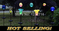 Cheap Multicolor Lily Flower Glass ball Solar lawn lights led garden seven colors gradual change light decoration outdoor street lamps