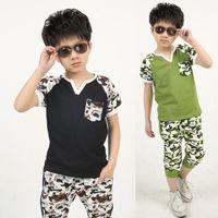 Cheap New Boys Children Camo 2-pcs Outfits Camouflage Short Sleeve T-shirt+Capri Pants 5 pcs lot Kids Summer Boys Fashion Casual Sports Suits Sets