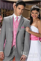 Wholesale Custom Made High Quality Flat Barge Suits Formal Groom Tuxedo for pieces Gray Coat Pants Pure Pink Vest Tie Size S XL S146921