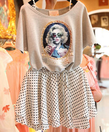 Wholesale NWT Europe Retro Style Women s Clothing Sets Cotton Rhinestone Batwing Sleeve Tops Tee Polka Dots Dress Set Lady Casual Outfits C2331