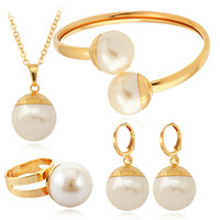 Wholesale Real K Gold Plated Big Pearl Beads Costume Jewelry Sets Cuff Bangle Bracelets For Women New Items Fashion Jewellery MGC BS1215