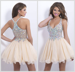 Wholesale Champagne Homecoming Dresses Sweetheart Chiffon Sheer Rhinestone Crystal Criss Cross Back Short Mini Blush Party Cocktail Gowns