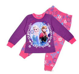 Wholesale children clothing girl girls frozen elsa and anna long sleeved sleeve winter pajamas pyjamas sleepwear