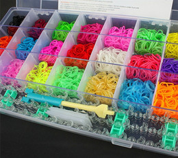 Wholesale 2014 New Hot Sale PVC Box Package Rainbow Loom Bands Kit Silicon bands and hook complete kits Kids DIY Bracelet jewelry