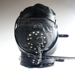 Wholesale Leather Bondage Kits Restraint Hood with Mouth Cover Full Mask sex toy