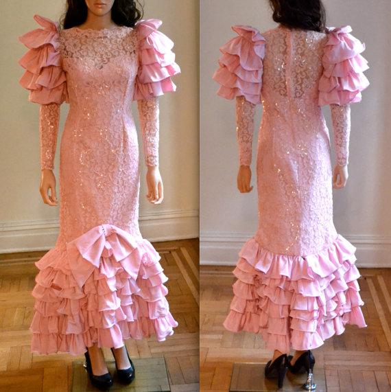 Vintage 80s Prom Dress Pink Lace With Sequins Pageant Dress Pink ...