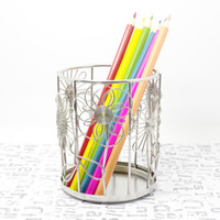 Wholesale F4 FLOWERS PETALS LEAVES PEN PENCIL CUP BOX HOLDER STAINLESS HAND MADE ART CRAFTS WEDDING BIRTHDAY HOME GARDEN OFFICE GIFT PRESENT CUTE