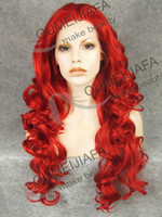 Wholesale Kim Kardashian red waves roll in Front Lace Wig quot Long Natural Wave wigs Heat resistant firber lace wig female wig Long Wig