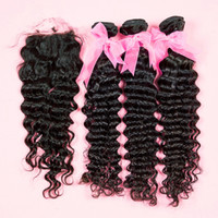 """Brazilian Hair Natural Color Curly Wholesale - One middle part (4""""x 4"""") top lace closure with 3 bundles hair extension curly 100% brazilian human hair"""