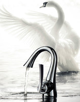 Centerset art decks - Bathroom sink faucet basin mixer tap chrome art style swan chrome finish brass copper hot cold water single handle Deck Mounted DG39101