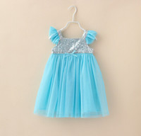 Free shipping girl frozen dress Elsa dress New Summer Anna d...