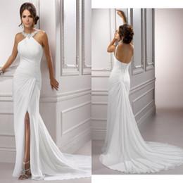 Wholesale New Hot Halter Beaded Neckline Ruffles Side Split Long Wedding Dresses Lace up Chiffon Summer Beach Bridal Gowns