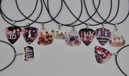 10Pcs 1D One Direction Guitar Pick Necklace ,Black Leather Cord