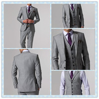 Wholesale Custom Made High Quality Flat Barge Suits Formal Groom Tuxedo for pieces Silver Gray Coat Pants Vest Tie Size S XL S146937