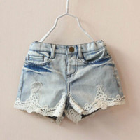 Plain Christmas Girl Denim Shorts Child Clothing Ripped Jeans Hot Pants Summer Shorts Blue Jeans Girls Shorts Children Casual Pants Fashion Short Jeans Kids Wear