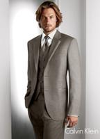 Wholesale Custom Made High Quality Flat Barge Suits Formal Groom Tuxedo for pieces Khaki Coat Pants Vest Tie Men SUits Size S XL S146938