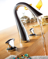 Chrome bathroom sink mixer - Bathroom widespread faucet basin mixer tap sink holes double handle high quality chrome Golden finish brass copper swan style DG39111