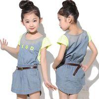 Wholesale 2014 NEW Jeans Dress Children Girl s Short Stripe Sleeve Denim Princess Dress With Belt Sumer Dress T0609