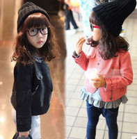 Wholesale European Children Clothes New Arrival Autumn Pure Coloured Pocket Lapel Zipped Leather Garment Kids Fur Clothing Child PU Jackets I1372