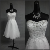 beach wedding photos - Beach Short Wedding Dresses Little White Dresses Sweetheart A Line Mini Homecoming Party Prom Dresses With Crystals Sexy Bridal Dress