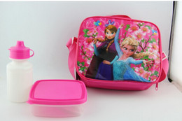 Wholesale Frozen Kids Cartoon Lunch Box Set PVC Cartoon Lunch bag Cartoon Childers Lunchbox Cartoon Childers Lunchbox for Girls Lunch Tote QH6058