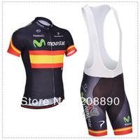 Wholesale NEW movistar spain champion team Blue cycling clothing Cycling Jersey Bib Shorts movistar D