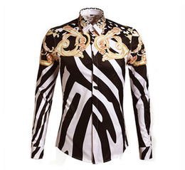 Wholesale 2014 Designer Shirts Men Zebra Print Luxury Casual Slim Fit Stylish Dress Shirts Long sleeved Mens Shirts Cotton Fashion Clothing M XL
