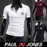 Cheap High Quality Cheap New PJ Korean Mens Stylish & Slim Fit Short Sleeve Polo Shirt Shirt for Men 4 Size XS~L Black White Wine Red CL5667
