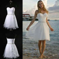 Real Photos bachelorette party cheap - 2016 High Quality Real Sample Short Beach Wedding Dresses Custom Made Beaded Summer Wedding Gowns Pleat Skirt Cheap Bachelorette Party Gowns