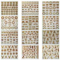 Wholesale New SheetsX12Assorted Gold Color Bow amp Flower amp Crown Designers D Nail Art Stickers Decals Beauty Products Drop YY _6