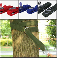 Wholesale Top Quality Outdoor Dedicated Hammock Nylon Straps With Steel Rings Hanging Tying Buckle Pouch set