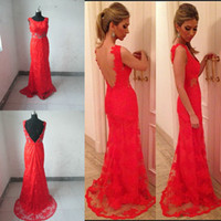 2014 Sheer Tulle Sexy Red Lace Backless Evening Dresses Appl...