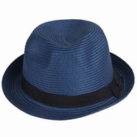 As Picture Show straw hat fashion straw hat fedora straw hat - Fashion Unisex Straw Hats Fedora Panama Caps Summer Beach Hats Sun Hat Blue Stingy Brim Hats ECP3