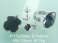Cheap Bear Accessories Wholesale Fashion Stainless Steel Jewelry Sets Pendant And Earrings And Ring Supernova Sales E2S4405