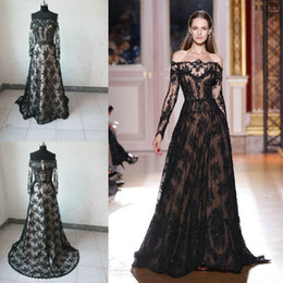 2017 Sexy Zuhair Murad Sheer Nude Sexy Long Sleeves Prom Dresses Lace Black Gothic Off Shoulder prom Evening Dresses Celebrity Dresses