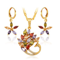 Cheap New Set Brand 18K Gold Plated Chinese Phoenix Legend Bird Crystal Earrings Pendant Set Fashion Jewelry For Women Wholesale S254