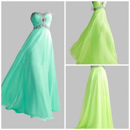 Wholesale HOT Lime Green Aqua Sweetheart New Hot Chiffon Empire Long Cheap Stock Crystal Sequin Evening Prom Dresses Bridesmaid Gowns Dress