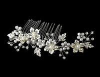 Cheap Vintage Style Pearl handmade headdress hair accessories Crystal Bridal Wedding dress Hair Comb Headwear 2014 women