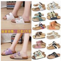 Wholesale Cork babouche birkenstock sandals low heels flip flops men and women lovers slipper shoes sandals colors