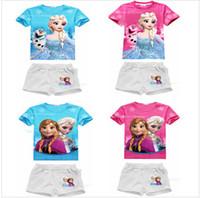 Cheap 2014 new summer girls frozen sets children short sleeve+short pants suits kids baby clothing